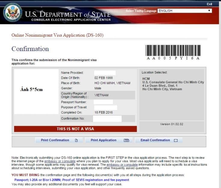 Đơn xin gia hạn visa du học Mỹ DS-160